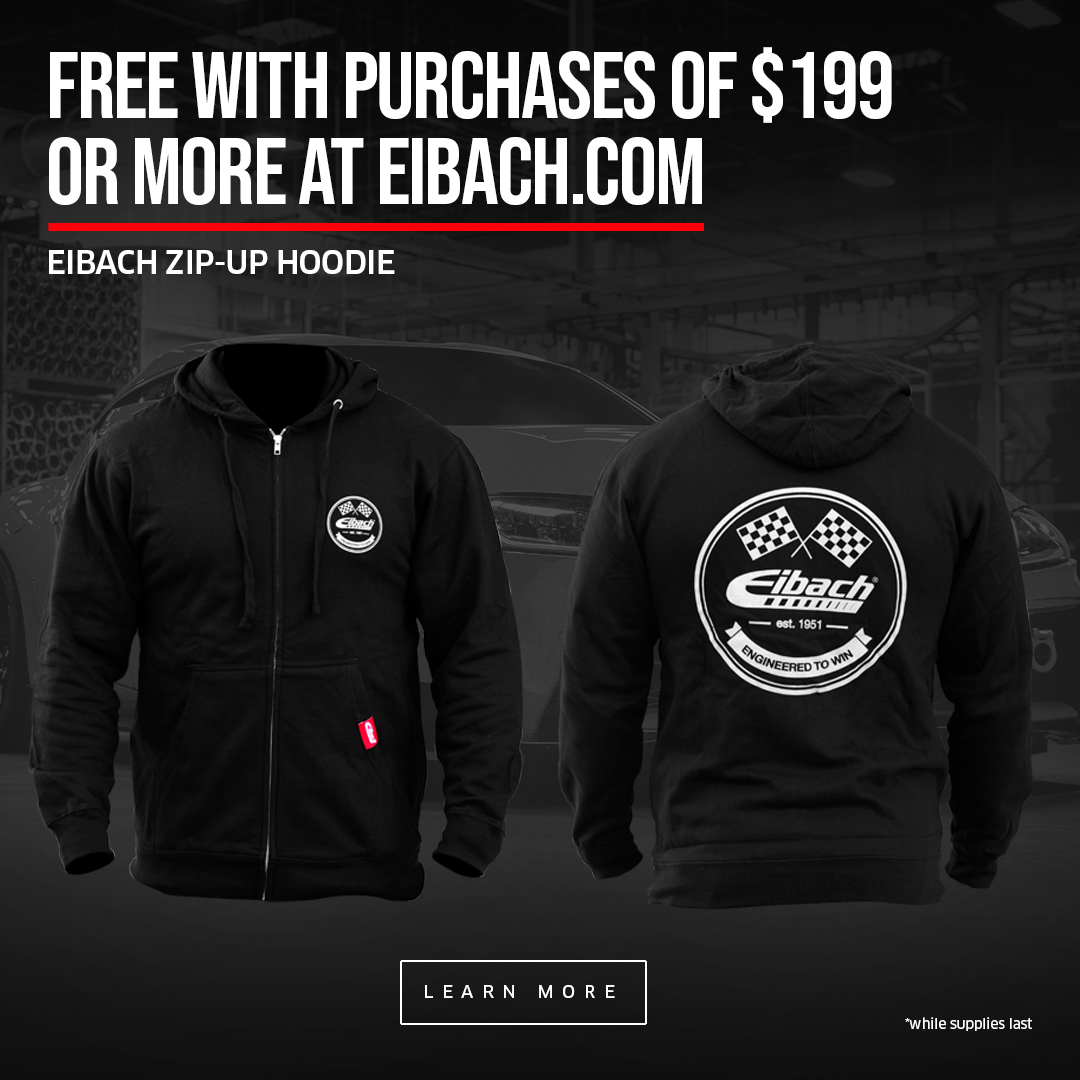 Eibach Hoodie promo with purchases over $199 while supplies last
